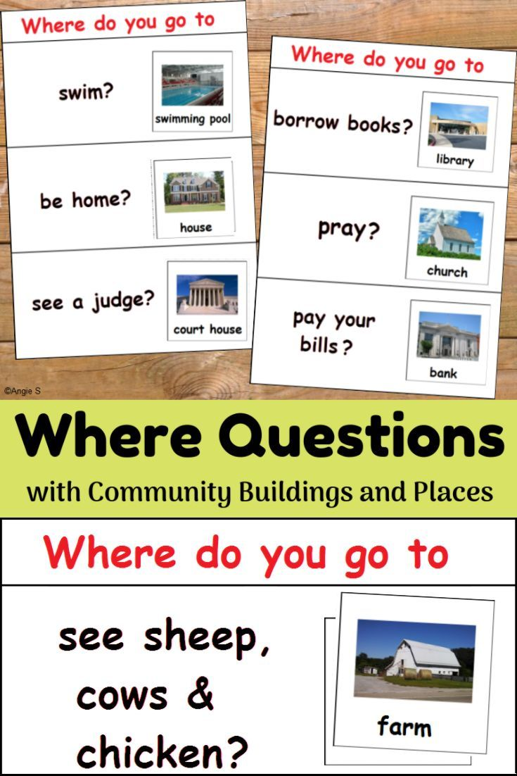 Where Questions with Community Buildings Your students will love this Where Questions Activity for Autism or ESL. The reallife pictures with help the students with special needs understand and accomplish the tasks. It is very helpful for learning the vocabulary on community buildings and answering