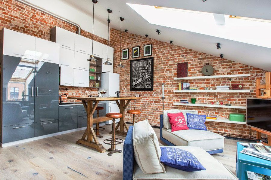 Small Loft Apartment Interior Design With Red Brick Walls