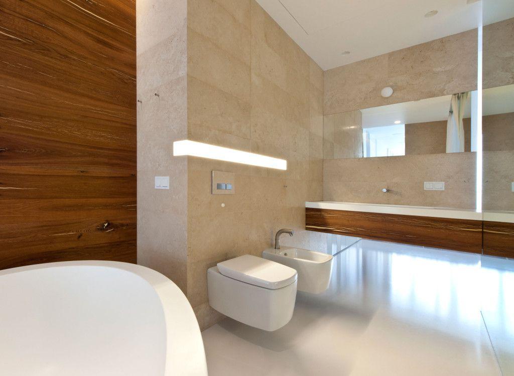 bad modern gestalten mit einbauwandleuchte und akzentwand in holz ... | {Badezimmer modern gestalten 64}