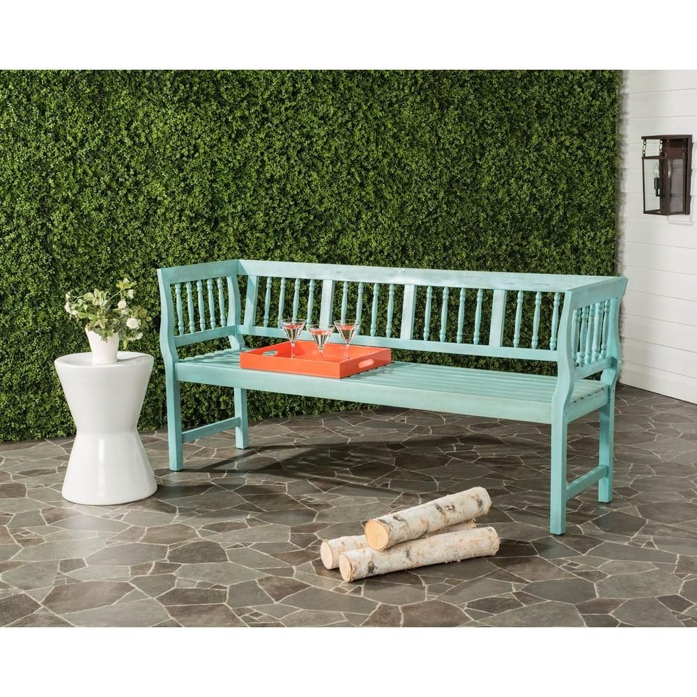 Safavieh Brentwood Outdoor Acacia Patio Bench In Oriental Blue In