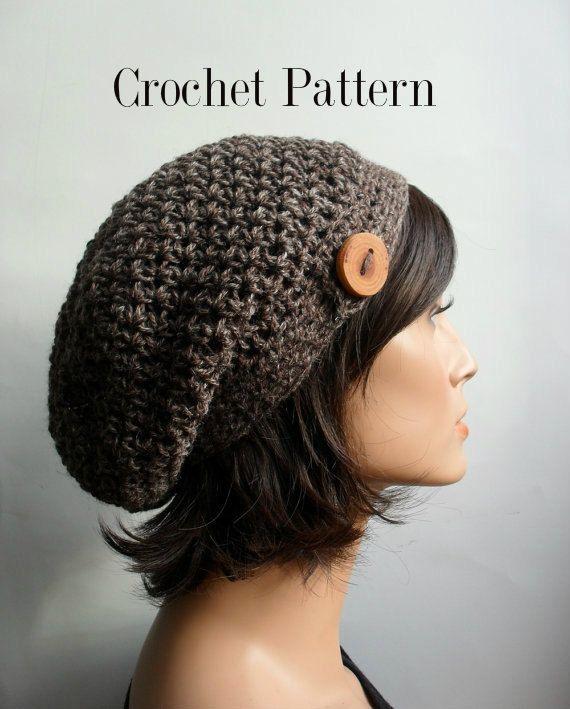 slouchy beanie crochet pattern   Crochet Pattern for HDC Button Tab ...