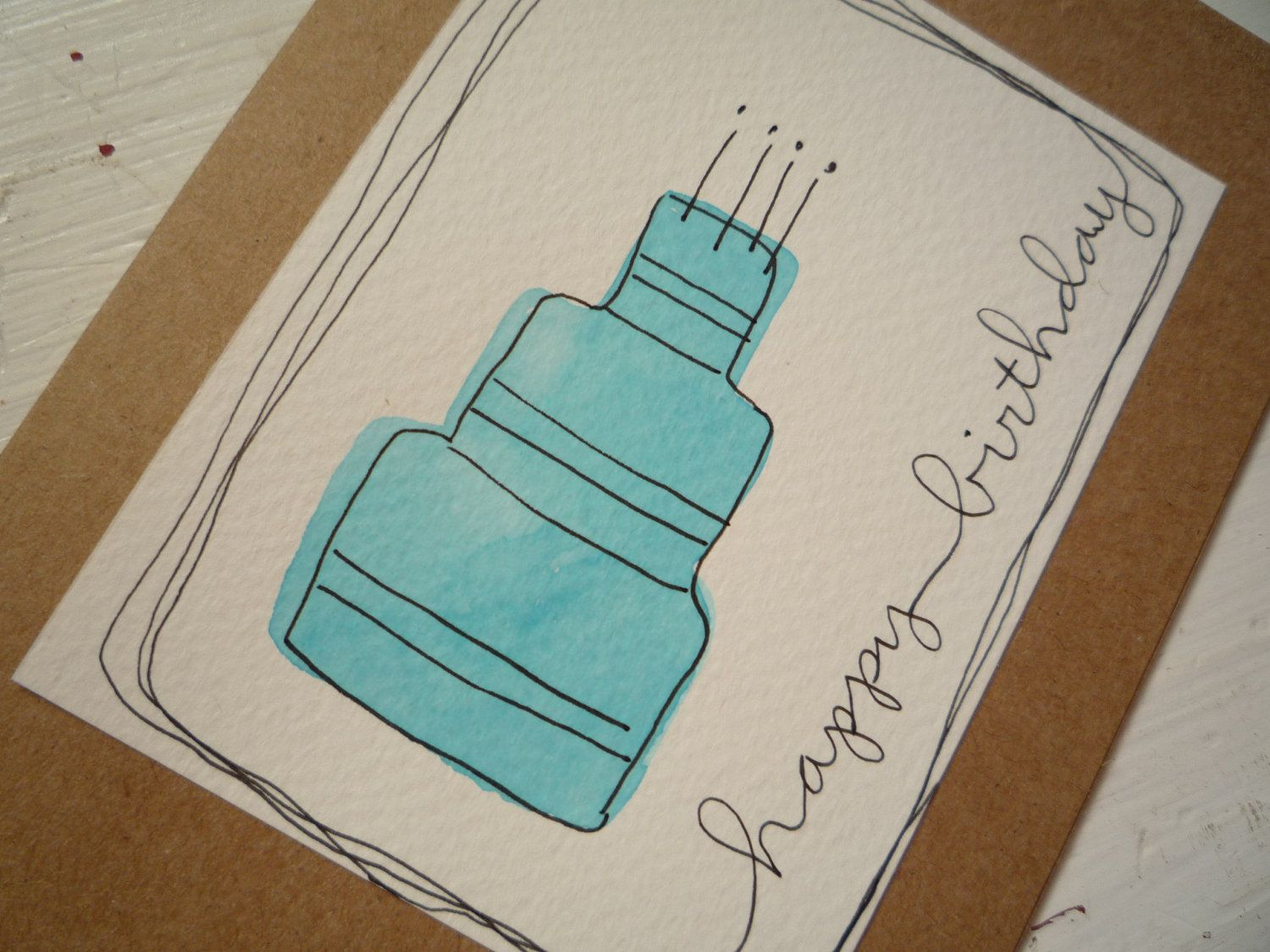 Happy Birthday Card With Original Watercolor Ink Illustration