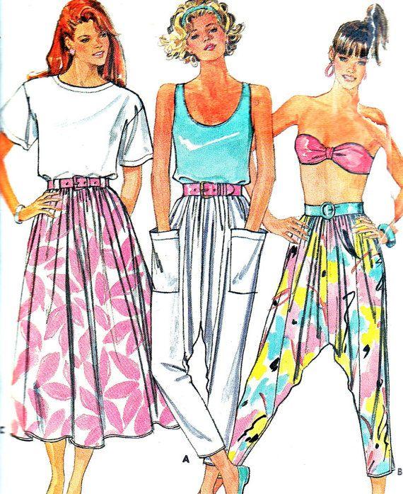 1980s Harem Pants Pattern Butterick 5610 Mc Hammer Pants Cropped