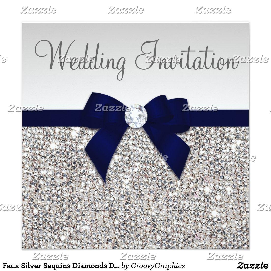 Faux Silver Sequins Diamonds Dark Navy Bow Wedding Invitation ...