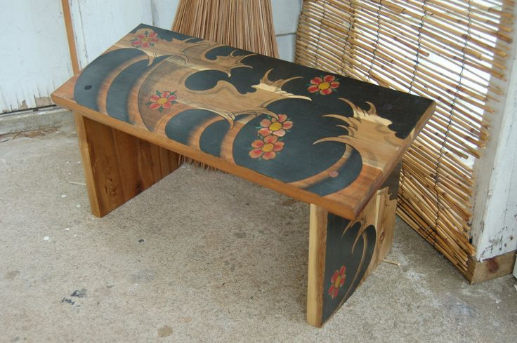 diy japanese furniture. DIY Meditation Chair | Hand Painted Seiza Bench Japanese Waves And Cherry Blossoms Diy Furniture