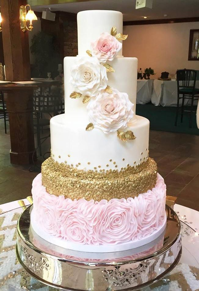 pink and gold wedding cake Google Search bridal gowns