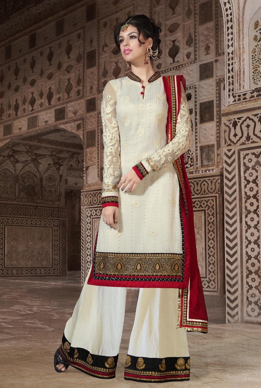 Designer Light Cream Pakistani Salwar Kameez Sarara for Eid & Ramadan