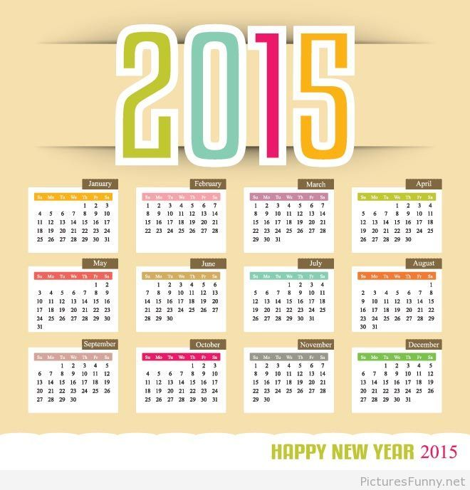 Cool 2015 Calendar Image Happy New Year Pinterest