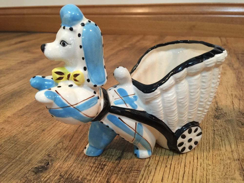 VINTAGE PLANTER PUPPY DOG PULLING CART - TRIMONT WARE - HAND PAINTED JAPAN