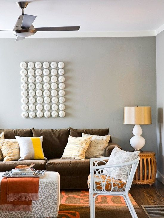 Brown Leather sofa Gray Walls