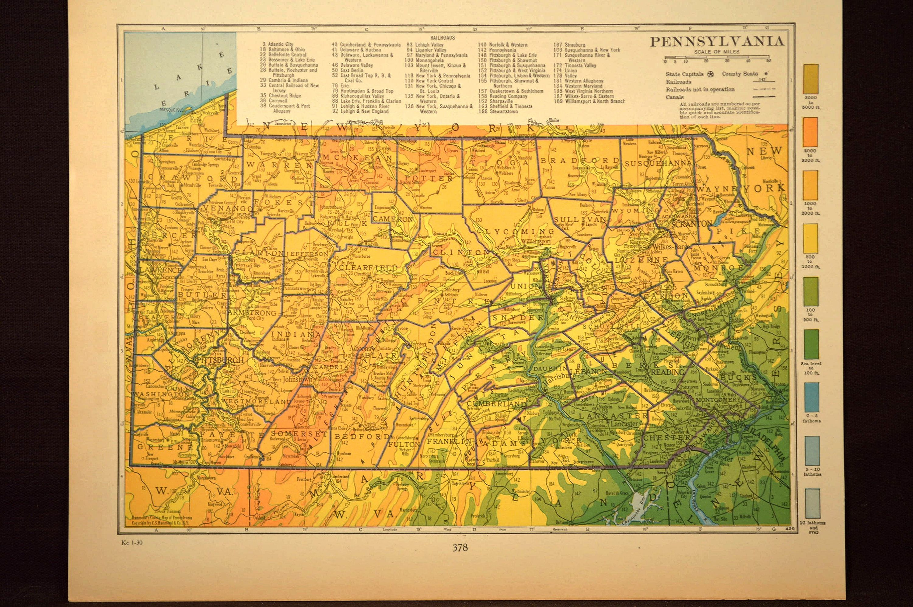 Pennsylvania Map Pennsylvania Topographic Map Colorful Colored