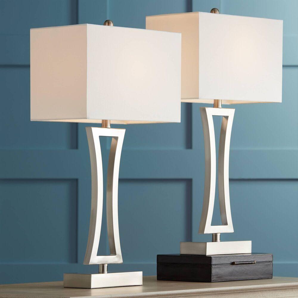 Modern Table Lamps Set Of 2 Brushed Steel For Living Room Family Bedroom Bedside 736101859642 Ebay Bedroom Lamp Sets Metal Table Lamps Modern Table Lamp