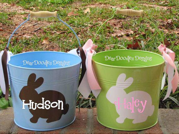 PersonalizedQt Metal Easter Bucket By Deardoodlezdesigns