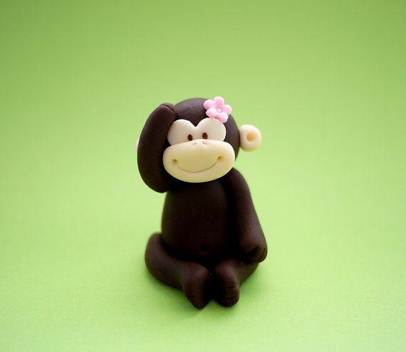 Fondant Monkey Cake Topper Cupcake Topper By Sugardecorbyletty