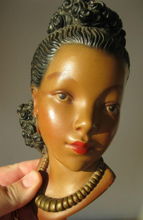 50s Vintage Retro Black African Lady Chalk Ware Figurine