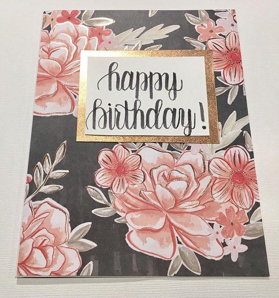 Rose gold floral birthday card rose gold rose gold birthday rose gold floral birthday card rose gold rose gold birthday bookmarktalkfo Image collections