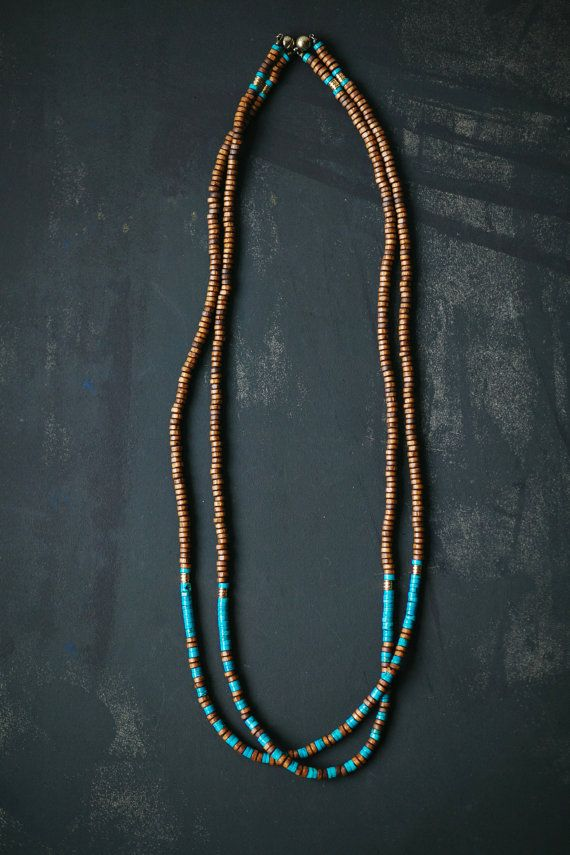 Black Brown and Gold necklace  Made of black heishi wooden beads, metal beads (colour - antique gold), turquoise gemstone heishi beads ( size - 3x6mm