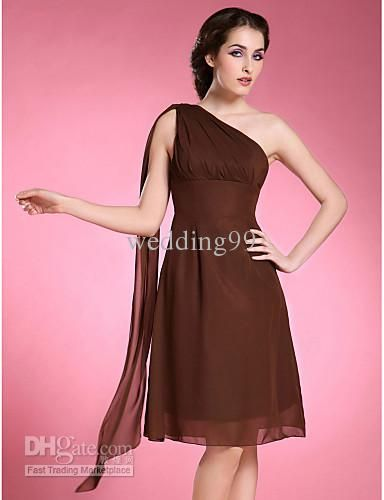 Wholesale Fashion A-line One Shoulder Sleeveless Knee-length Chiffon Mother of the Bride Dress, Free shipping, $67.2-76.16/Piece | DHgate