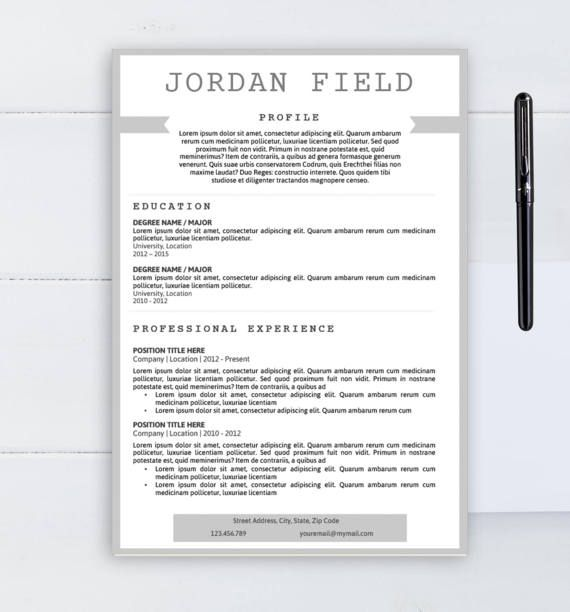 Professional Resume Template Cv Template Word Template Two