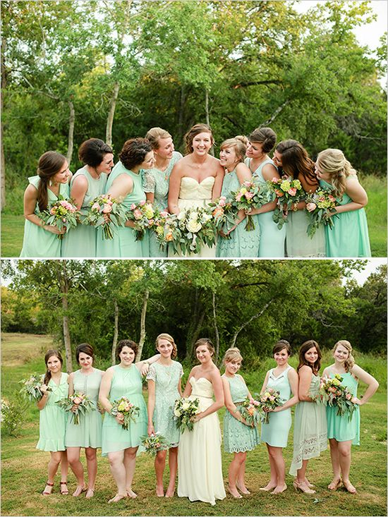 Mint and gold color long dresses