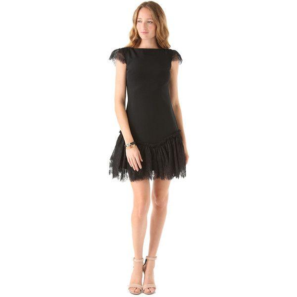 Marchesa Notte Bateau Neck black Sheath Dress ($278) ❤ liked on Polyvore