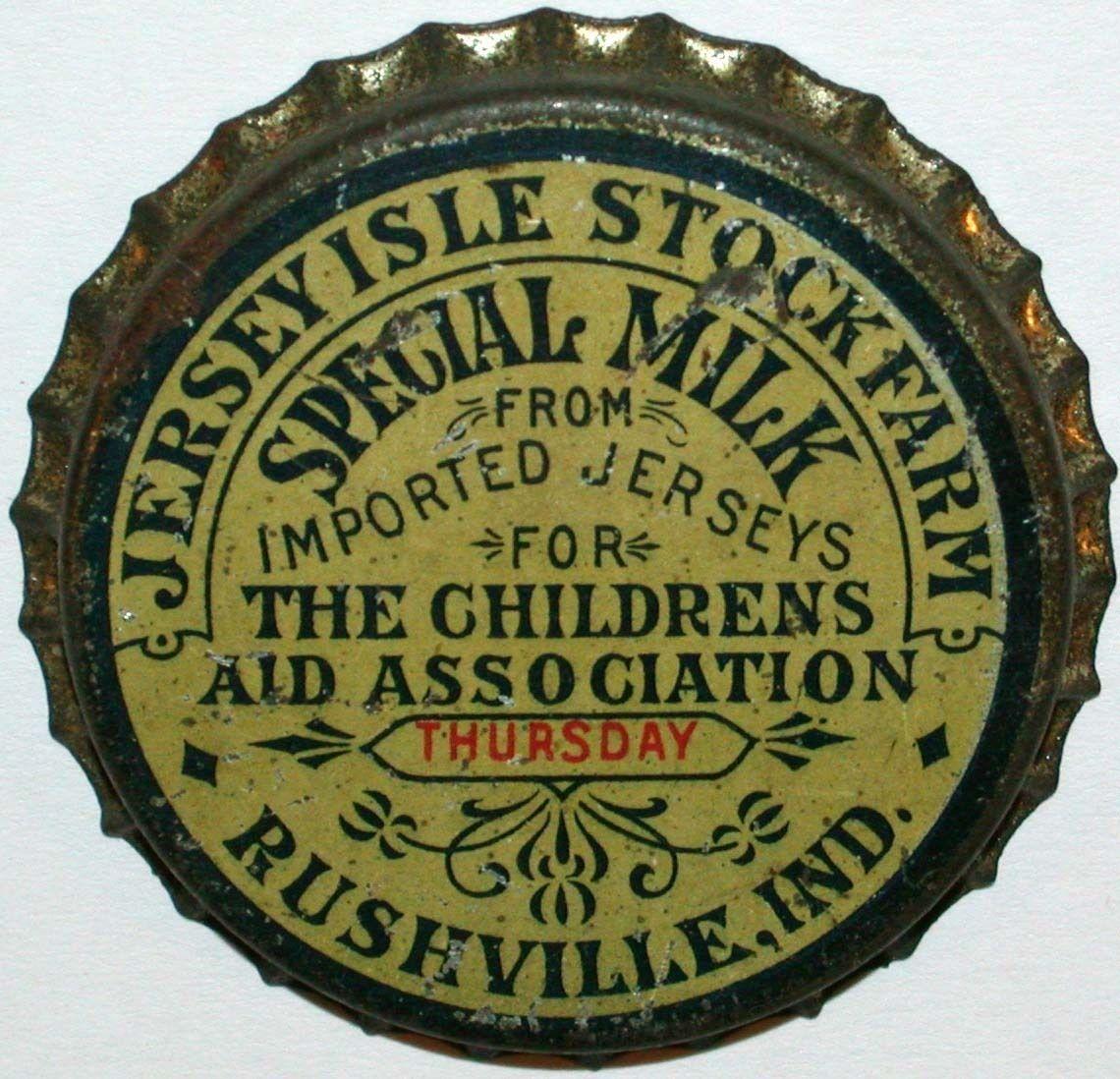 Vintage Milk Bottle CAP Jersey Isle Stock Farm Rushville Indiana Early Metal ONE   eBay
