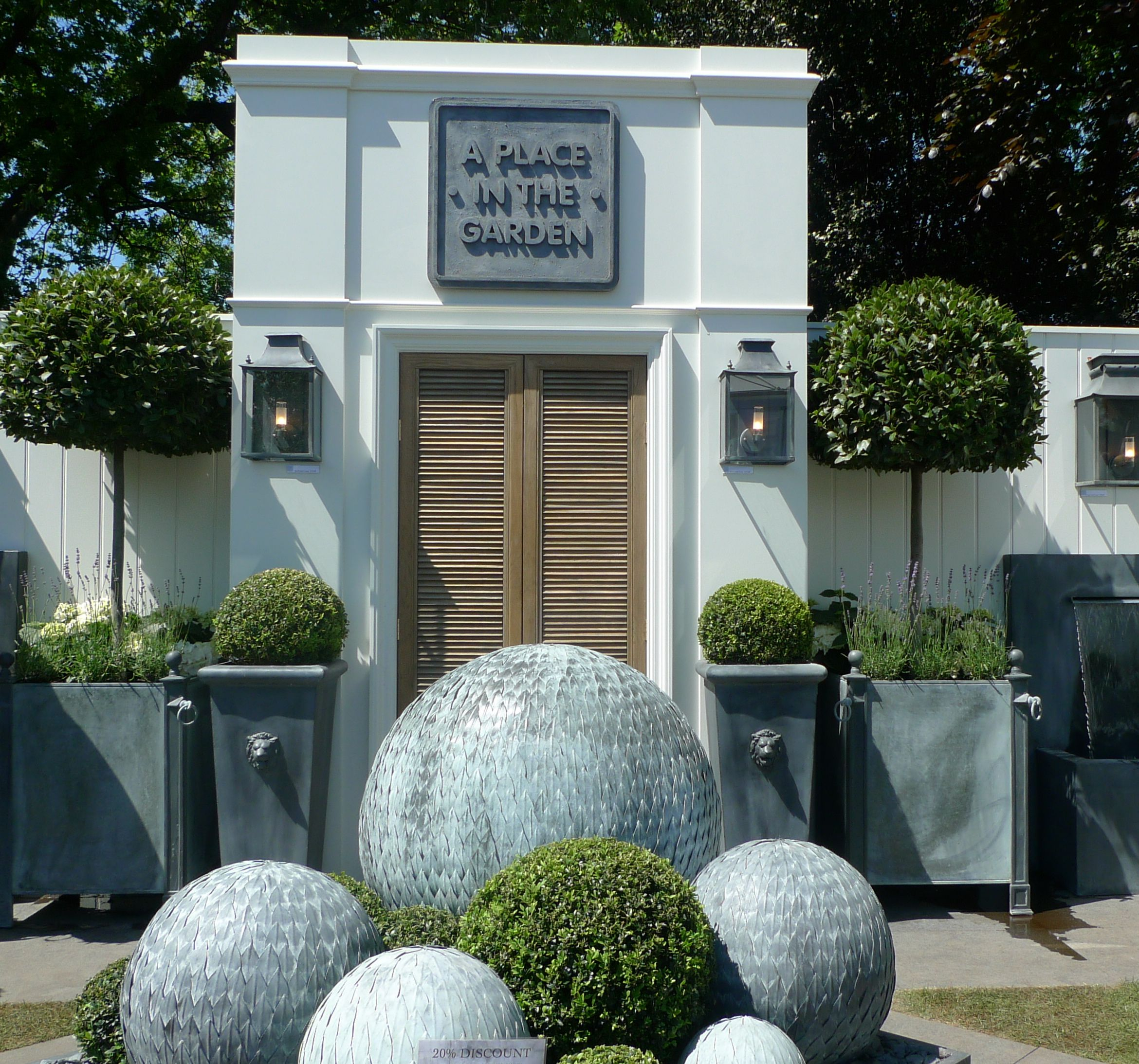 zinc planters from A Place in the Garden. Chelsea Flower