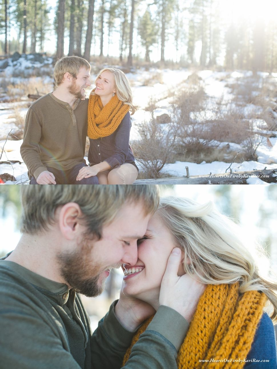 I love their precious, joyful interactions :)   This Central Oregon marriage session is a dream! Sun & snow & love & joy & pregnancy are just awesome together. Hearts on Fire by Kari Rae, Oregon Couples Photographer, Love Photographer Lovely couple pose, romantic couple pose, whimsical couple photographer