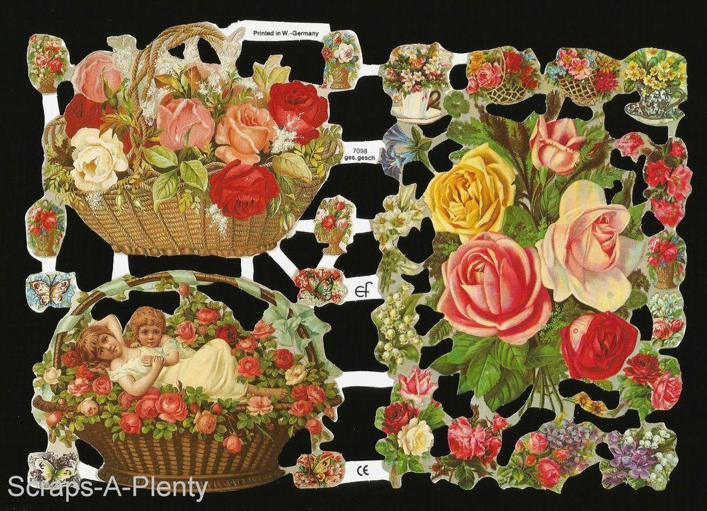 Digital Download Vintage Scraps Cromos Baskets of fruits