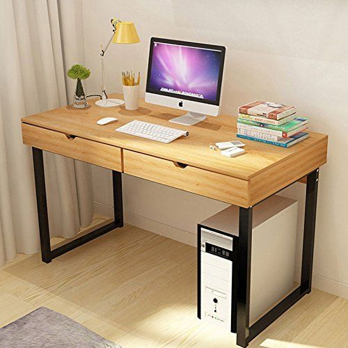 Tribesigns Computer Desk Modern Stylish 47 Home Office Study Table Writing Desk Workstation With 2 Drawers Pear Wood Color Modern Computer Desk Woodworking Desk Plans Study Table