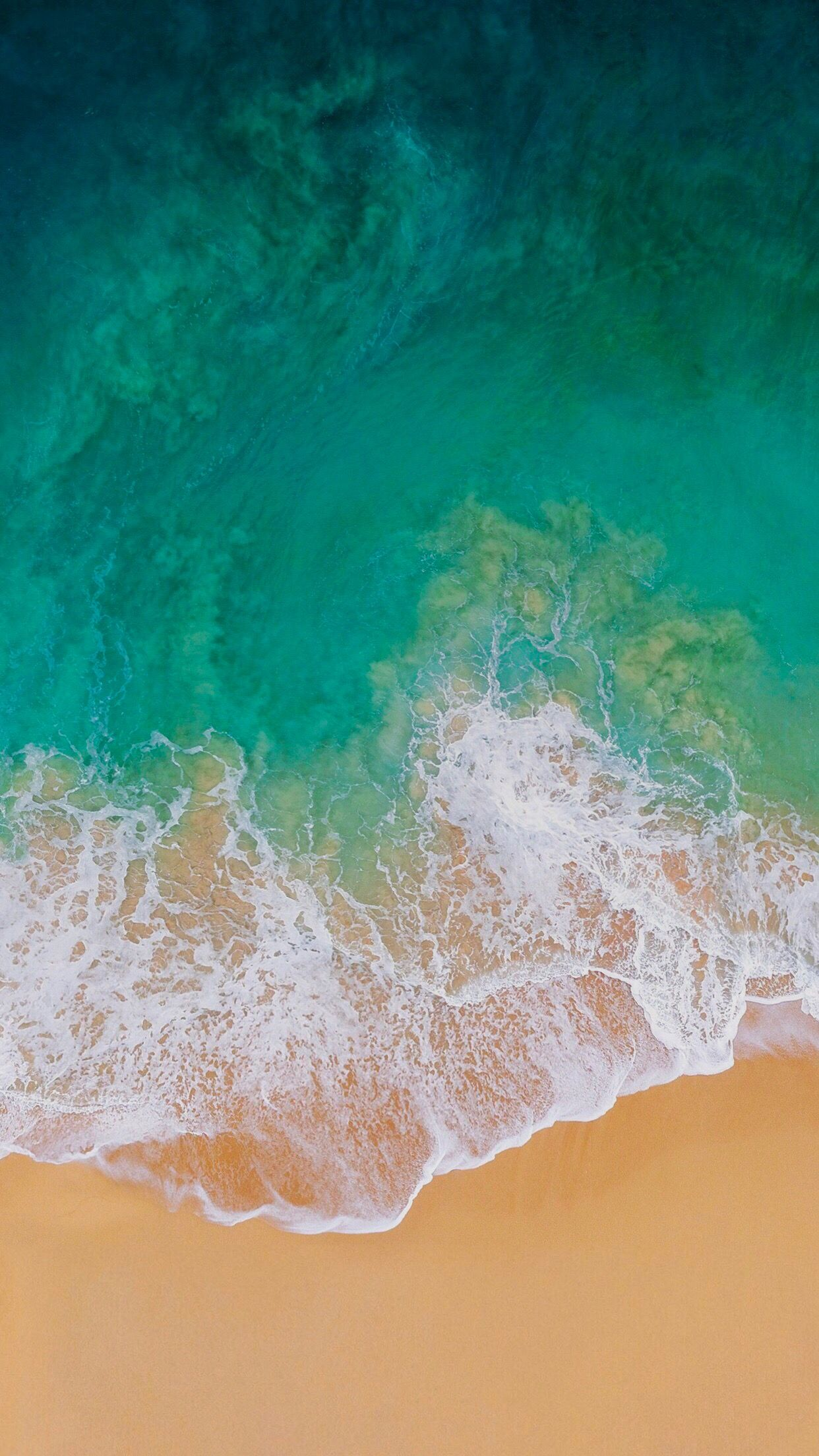 Ios 11 Turquoise Sand Beach Ocean Abstract Apple Wallpaper