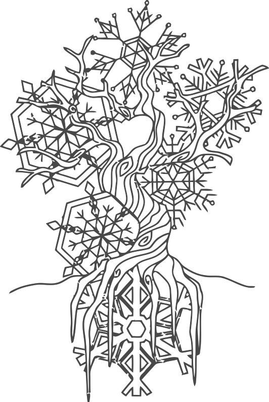 Yule Tree Snowflakes Winter Trees Coloring Pages Wiccan