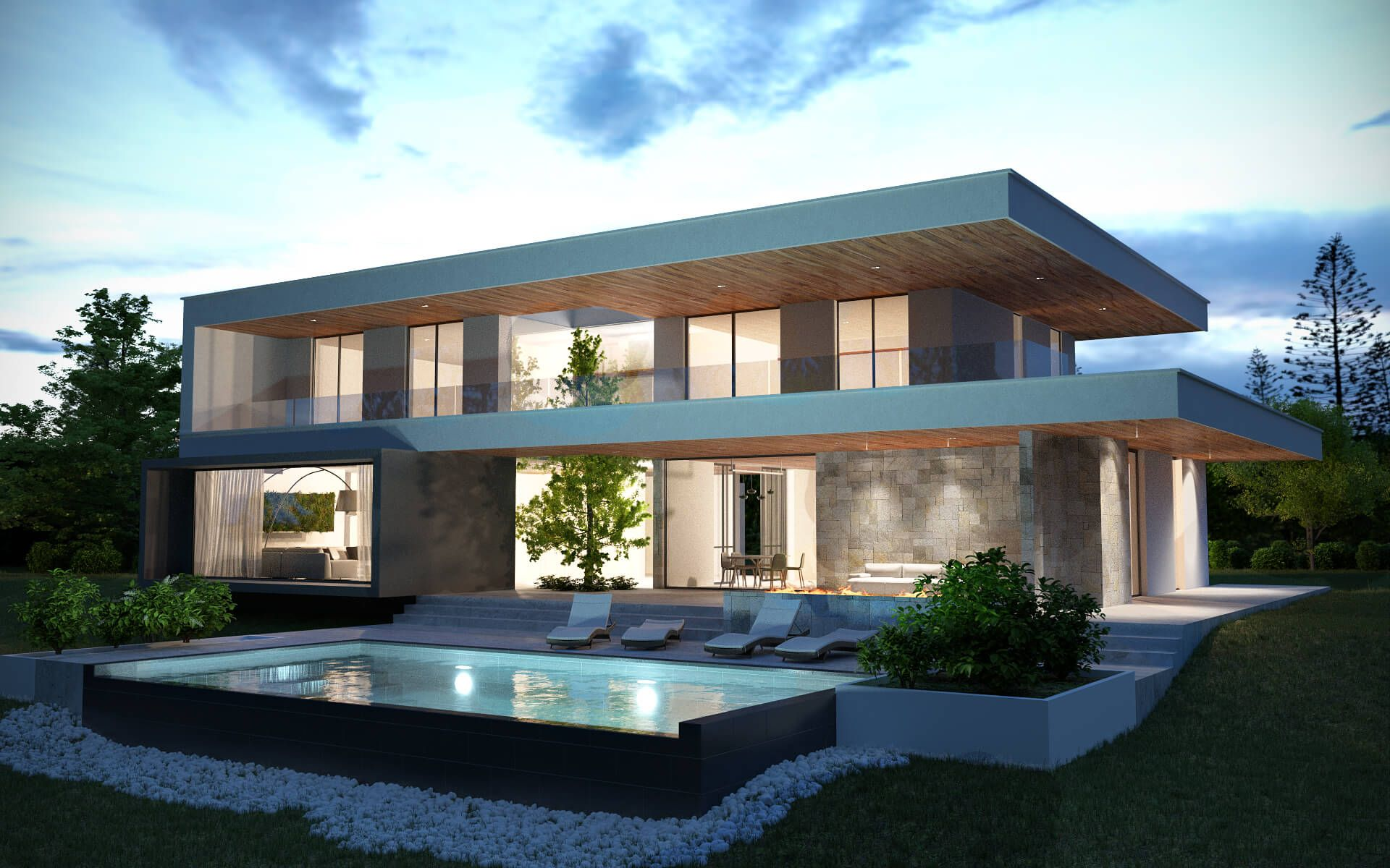 3d house exterior night shot vue 3d ext rieure nuit for Architecture 3d vue 3d