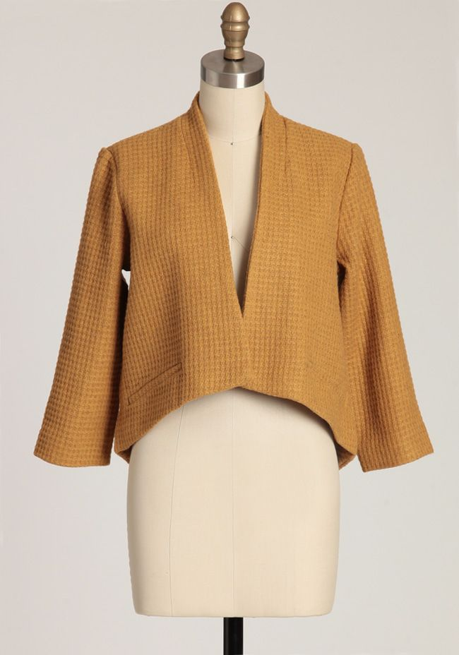 """Suki Blazer In Mustard By BB Dakota 99.99 at shopruche.com. With an asymmetrical hem, decorative front pockets, and a delightful waffle texture, this cozy wool blended blazer in mustard by BB Dakota is a wardrobe essential. Fully lined.54% Polyester, 36% Wool, 5% Acrylic, 5% Rayon, Lining: 100% Polyester, Imported, Length from top of shoulders 18.5"""" (front), 25.5"""" (back), 15"""" shoulder to shoulder, 18"""" ..."""