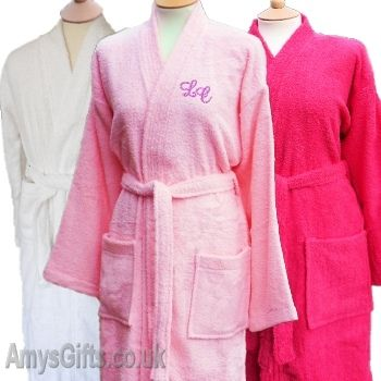 acd5f7965c Ladies Terry Towelling Bathrobe personalised with initials or a name for a  birthday