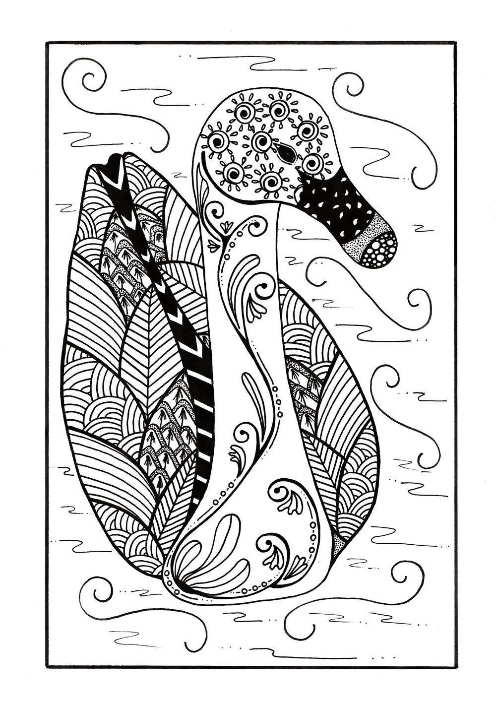 Delicate Zentangle Duck Coloring Page Coloring Pages Cat