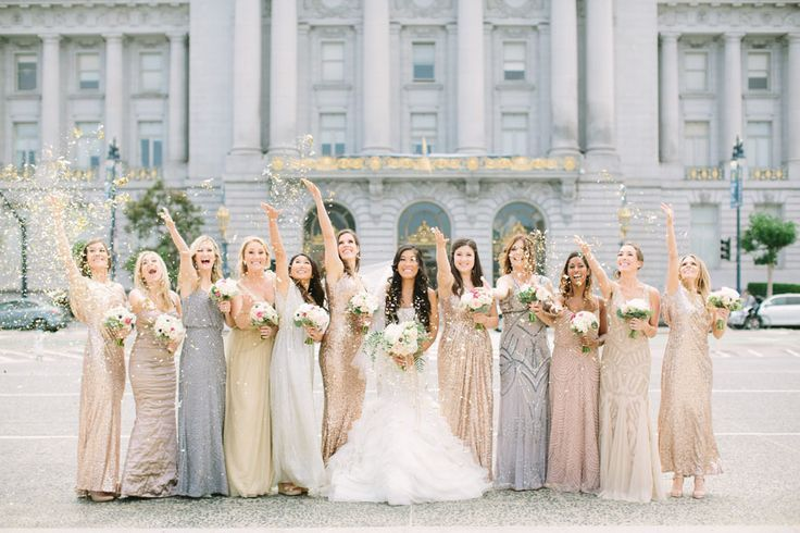Mix And Match Bridesmaids In Sequin Beaded Mixed Metallic Gowns Silver Champagne Rose Gold Bridesmaid Dresses Glam San Francisco City Hall Wedding Women