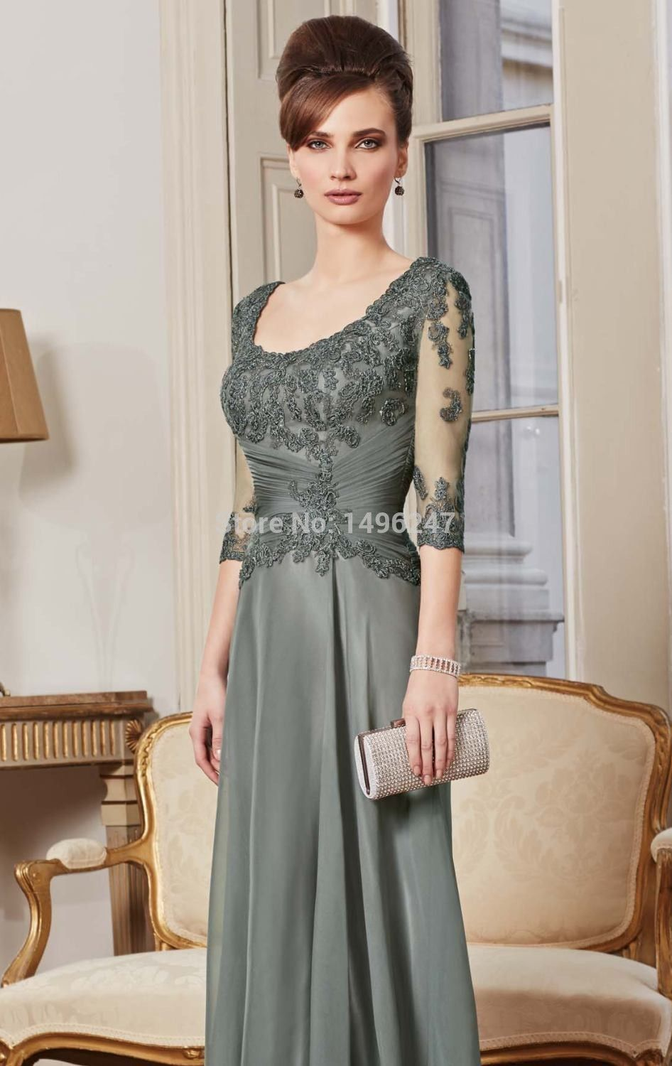 Click to buy ucuc best sale appliques chiffon tea length mother of the