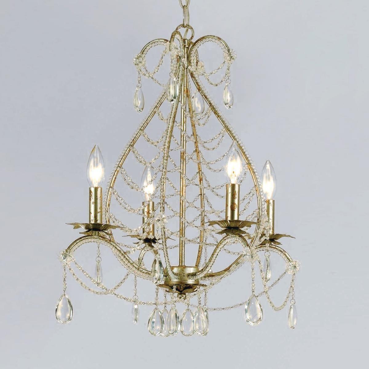 teardrop beading mini chandelier shades of light front