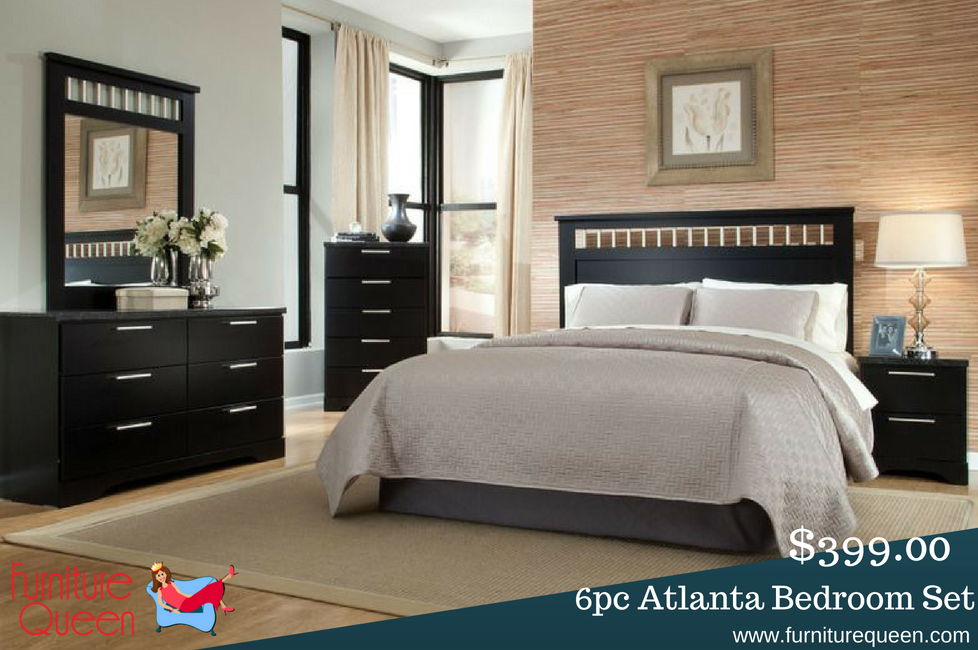 The Atlanta Black Queen King Bedroom Set Offers Clean Modern Design For An Amazingly Low And Affordable Price Anyone Furniturequeen Blackbedroom