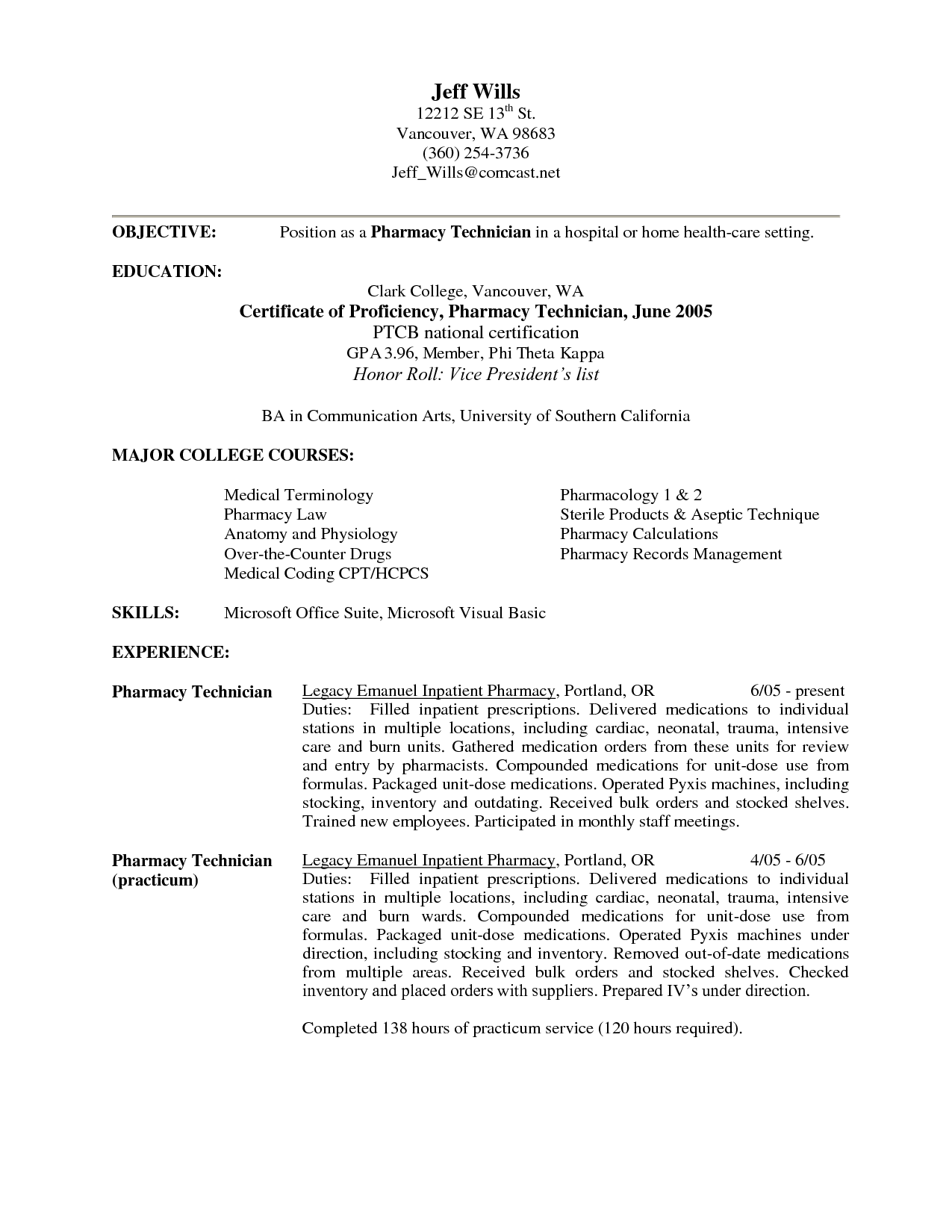 Charmant Pharmacy Technician Objective Resume Samples