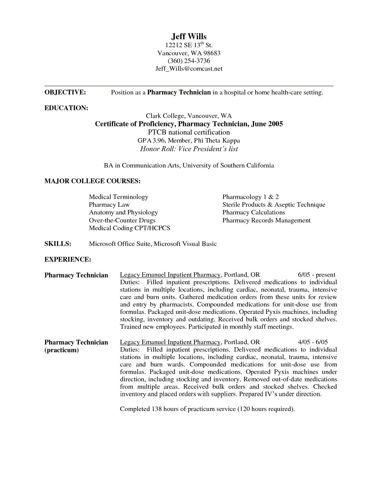 Sample Pharmacy Technician Resume - Resume Sample