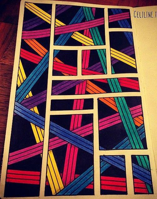 Lineas Cruzadas De Colores Arte En Cuadernos Estampados Zentangle Arte Y Diseno