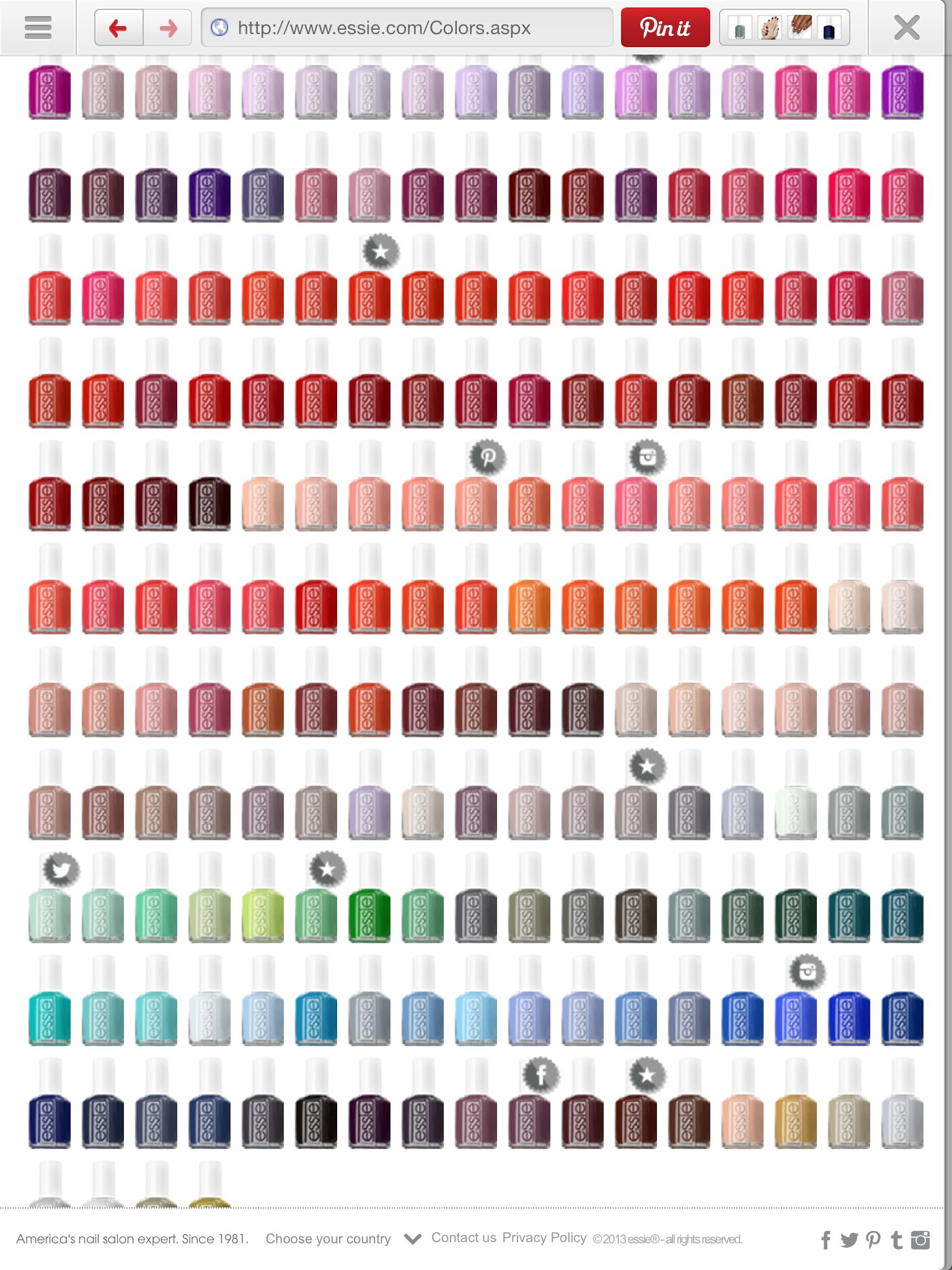 Essie color chart | Products I Love | Pinterest