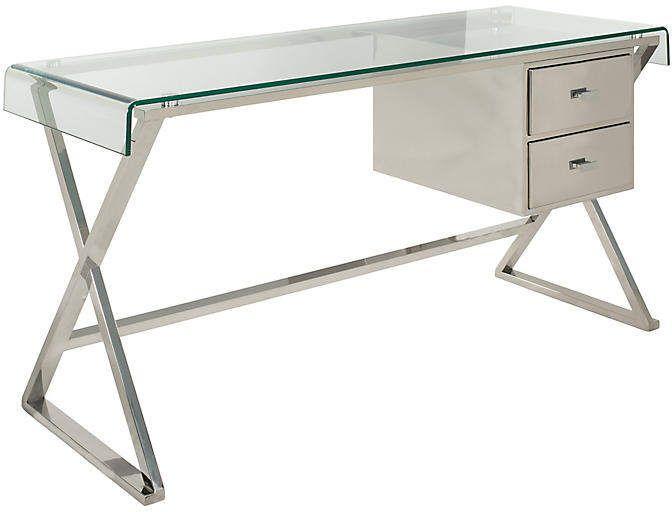 One Kings Lane Tratchenburg Desk Silver Silver Desk Glass Desk Glass Top Desk