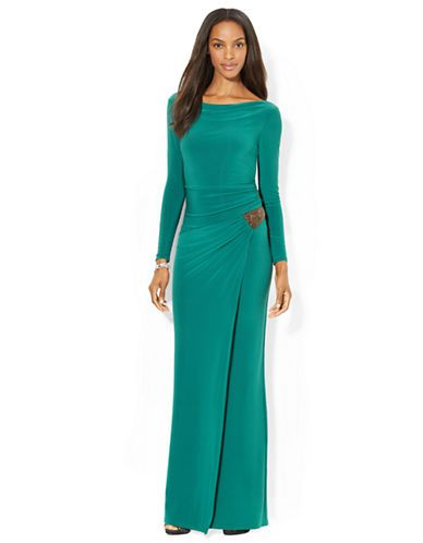 24665c4270d Jersey Side Draped Evening Gown