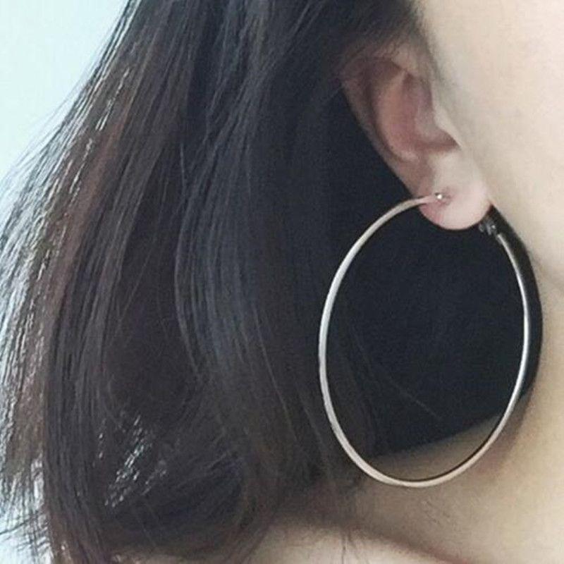 d8c3c0831 Bovvsky simple Big Hoop Earrings silver Plated big round Earring Steampunk  Ear Clip Big Single Round