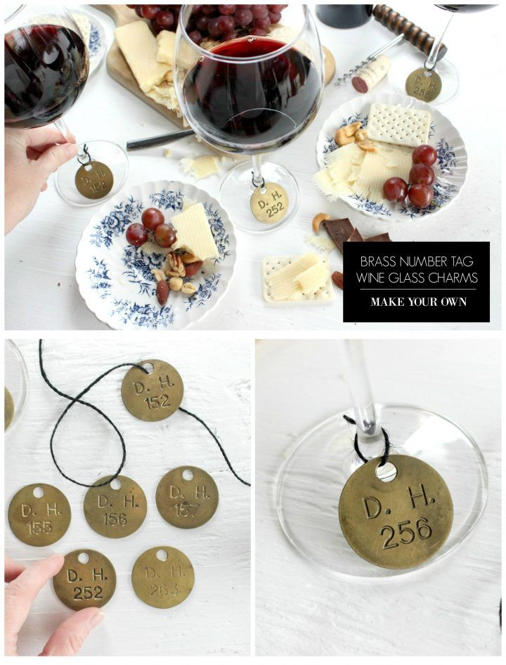 Make your own wine glass charms from vintage brass number tags. You can also buy tags here!
