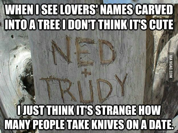 When i see lovers names carved into a tree........