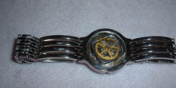 Stainless Steel Bracelet Pocket Watch Wheel on by LessieBlue, $17.99